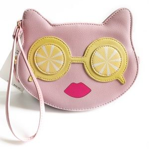 Betsey Johnson Pink Lemon Cat Wristlet